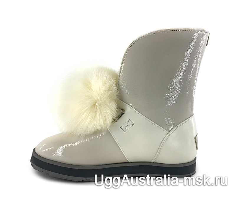 UGG Isley Patent Waterproof Boot White