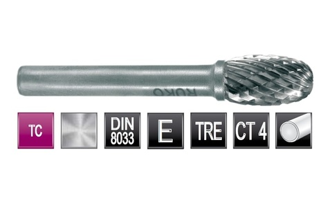 Бор-фреза твердосплавная E(TRE) 16,0х25x6x65мм HM Ruko 116215 (В)