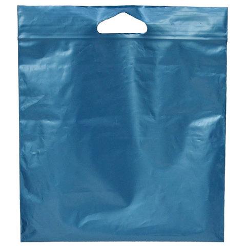 Пакеты Зип лок с вырубной ручкой 35 х 35 - (100) синий металлик