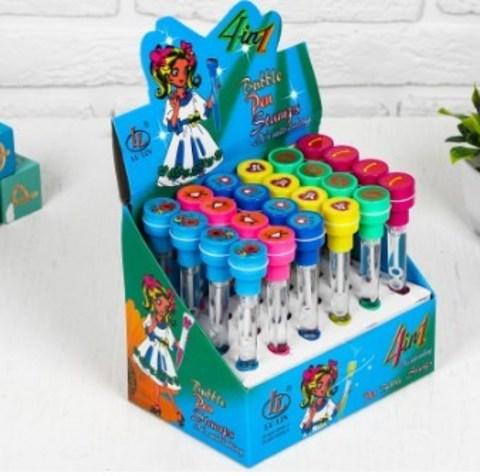 061-0215 Мыльные пузыри-ручки с печатью и светом «Космическое сердце», 10 мл, цвета МИКС
