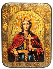 Инкрустированная икона Святая великомученица Екатерина 20х15см на натуральном дереве в подарочной коробке