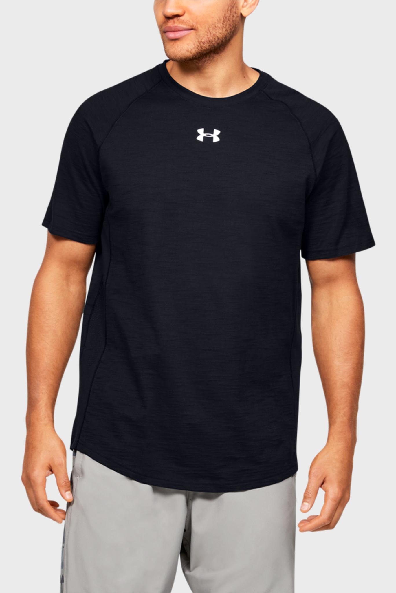 Мужская черная спортивная футболка Charged Cotton SS Under Armour