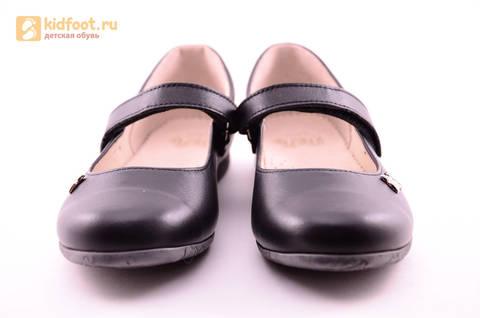 Туфли для девочек из натуральной кожи на липучке Лель (LEL), цвет черный. Изображение 5 из 18.