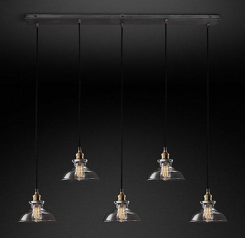 Подвесной светильник копия 20th C. Factory Filament Smoke Glass Barn Rectangular  Pendant by Restoration Hardware