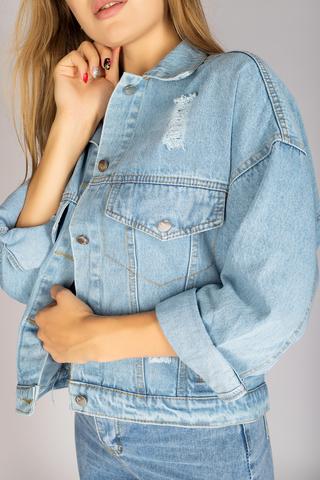 Джинсовая куртка с вышивкой на спине оптом