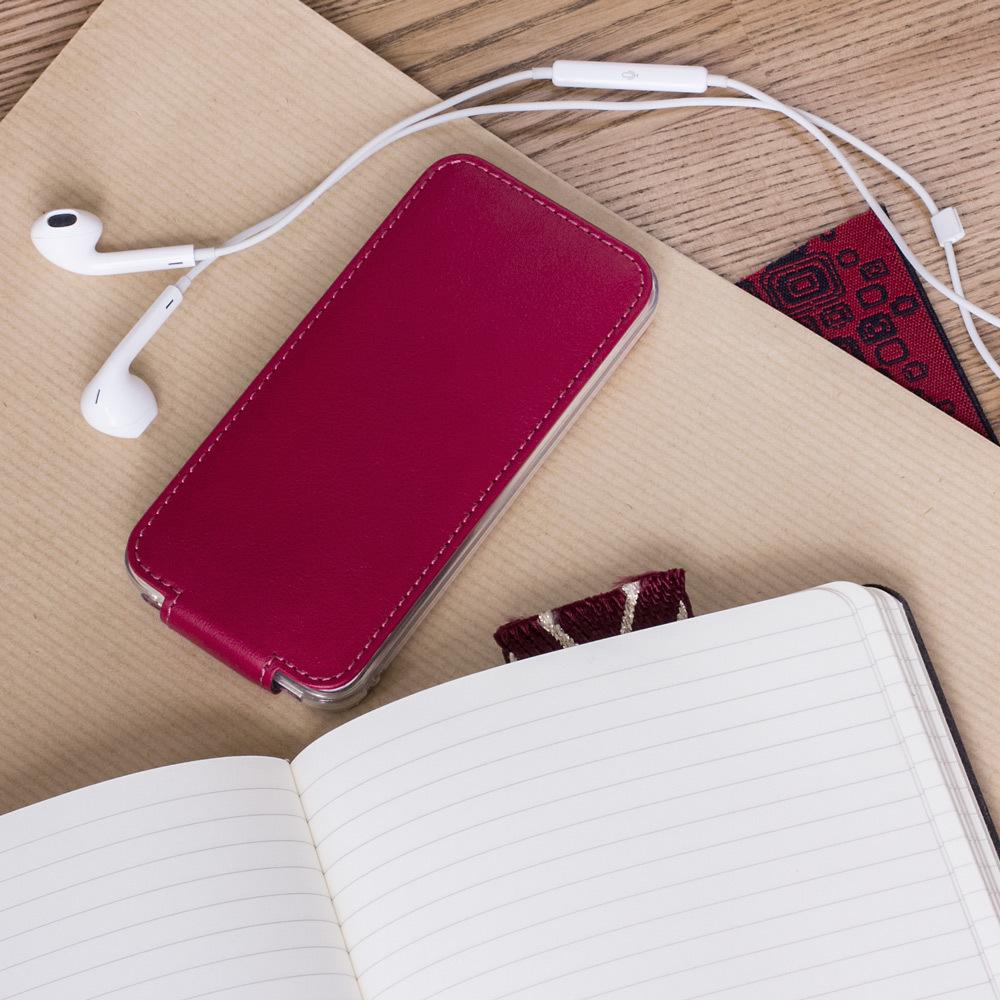 Чехол для iPhone 5S/SE из натуральной кожи теленка, цвета малины