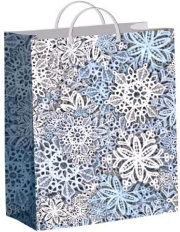Подарочные новогодние пакеты 30х40+10 (Тико) Кружевные снежинки