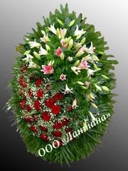 Венок из живых цветов Венок из живых цветов элит №1 размер-цена: 100см-22000руб 120см-27000руб 140см-32000руб 170см-39000руб. Ритуальный венок для возложения на моглилу, на похороны. Состав: цветы:Роза,лилия,хвоя,зелень.Наши ритуальные венки и корзины сделанные опытными флористами из качественного сырьяэлит №1 размер-цена: 100см-22000руб 120см-27000руб 140см-32000руб 170см-39000руб. Ритуальный венок для возложения на моглилу, на похороны. Состав: цветы:Роза,лилия,хвоя,зелень.Наши ритуальные венки и корзины сделанные опытными флористами из качественного сырья