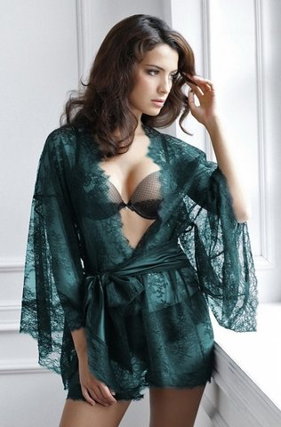 54083-12 Кимоно БАЗА - LAETE One size т.зеленый