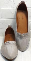 Кожаные балетки женские. Остроносые туфли на низком каблуке Wollen G036-1-1545-297 Vision.