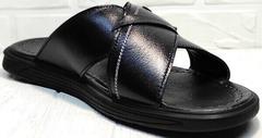 Кожаные шлепанцы босоножки чёрные мужские Brionis 155LB-7286 Leather Black.