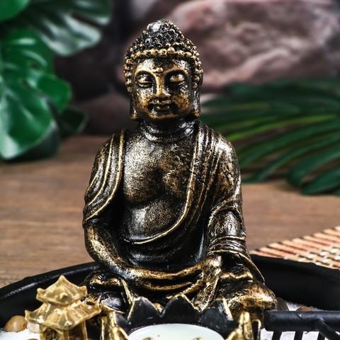 Сад Дзен Будда с лотосом в саду, песок белый + свеча