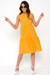 <p>Лёгкое платье свободного кроя. Ворот - стойка, переходящий в планку на пуговицах. Воланы на сборке придают изюминку этому платью.Длина по спинке 42р=98см. 44р=99см. 46р=100см. 48р=101см. 50р=102см.</p>