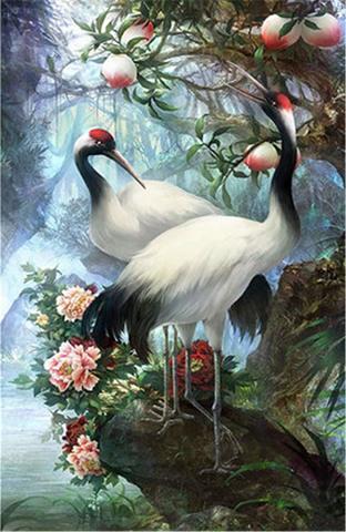 Картина раскраска по номерам 30x40 Птицы на камне