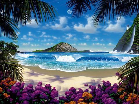 Картина раскраска по номерам 30x40 Вид с острова на океан