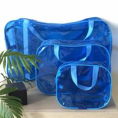 Тонированная прозрачная сумка в роддом с 2 косметичками, голубая