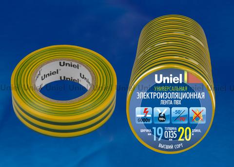 UIT-135P 20/19/10 YGR Изоляционная лента Uniel 20м, 19мм, 0,135мм, 10шт, цвет Желто-Зеленый