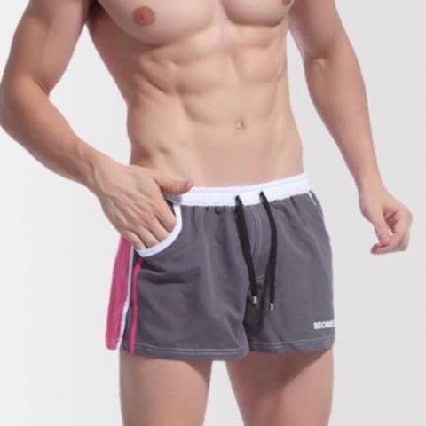 Мужские шорты купальные  серые с розовой вставкой Seobean Grey 30602