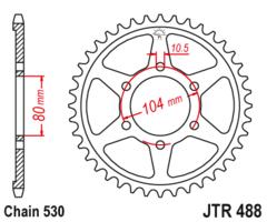 Звезда задняя JTR 488.44 KAWASAKI ZXR ZX ZZR