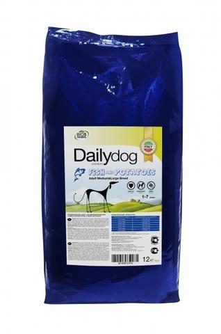Сухой корм Dailydog Adult Medium and Large Fish Potatoes для взрослых собак средних и крупных пород с рыбой и картофелем 12 кг