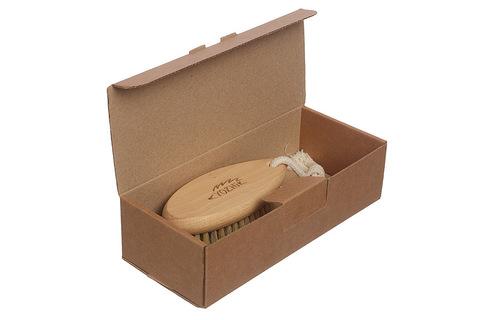 YOZHIK Щётка для сухого массажа (класс М компакт, натуральная щетина) фото в коробке