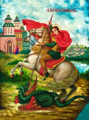 Алмазная Мозаика 40x50 Икона Георгий Победоносец (арт. HWA2952 )