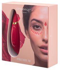 Красный бесконтактный клиторальный стимулятор Womanizer Premium -