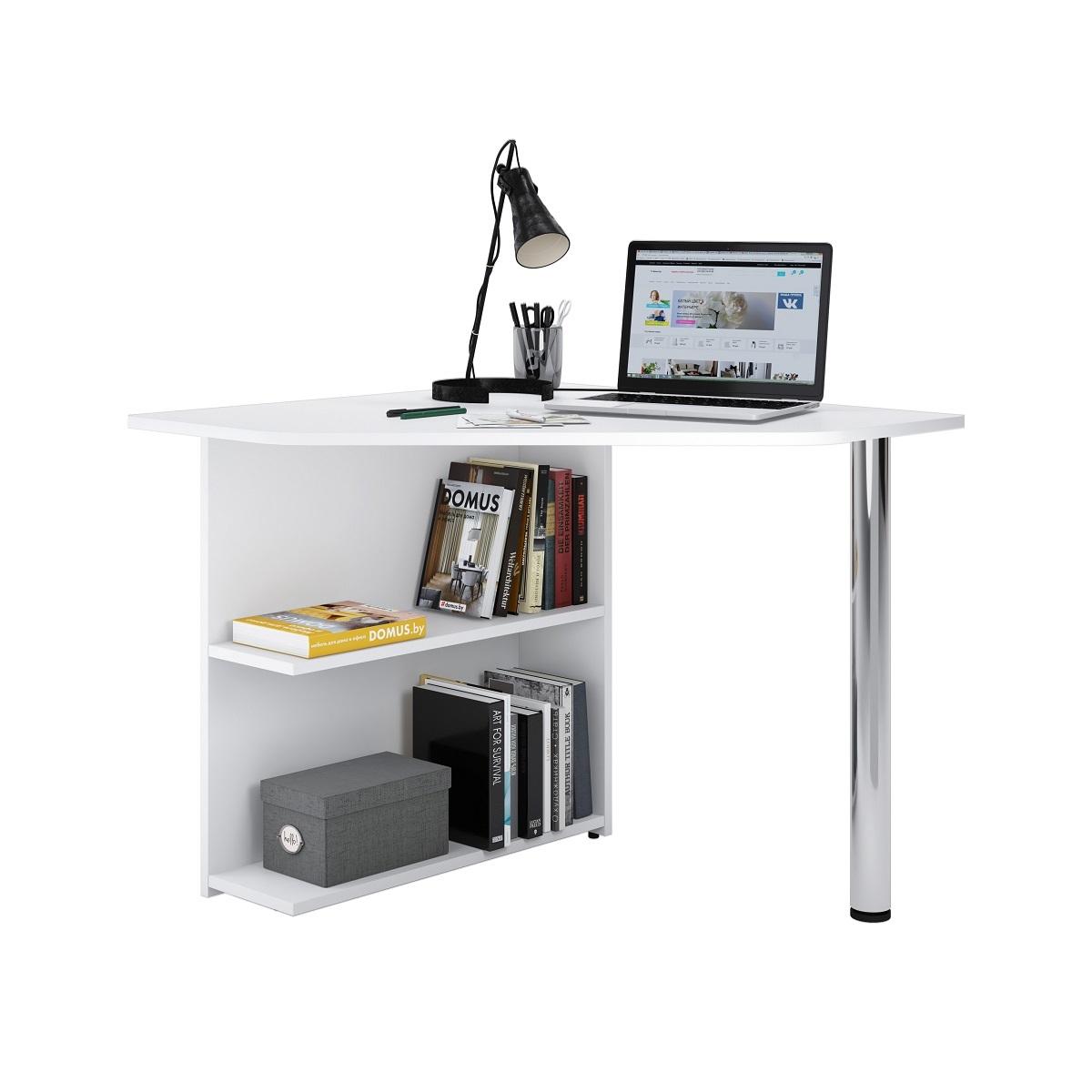 Угловой письменный стол ДОМУС Пайп-1 белый