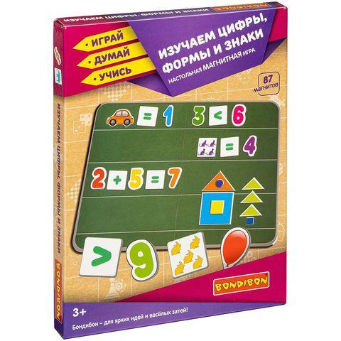 Магнитные игры BONDIBON, Изучаем цифры, формы и знаки  (87 магнитов)
