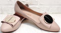 Стильные балетки слиперы женские Wollen G192-878-322 Light Pink.