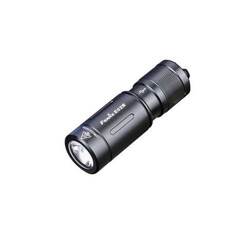 Фонарь-брелок светодиодный Fenix E02R, черный, 200 лм, встроенный аккумулятор