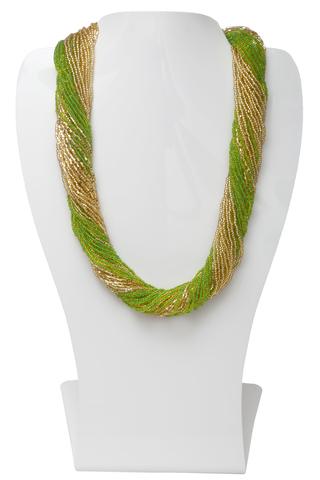Бисерное ожерелье из 36 нитей зелено-золотистое