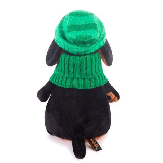 Пес Ваксон в зеленой шапке и шарфе
