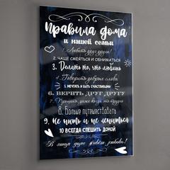 Картина на стекле для интерьера мотиватор Правила дома и семьи 28х40 см/ Мотивирующий постер черный