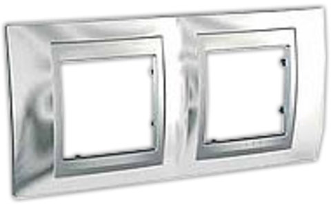 Рамка на 2 поста. Цвет Хром глянцевый-алюминий. Schneider electric Unica Top. MGU66.004.010