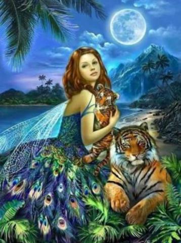 Алмазная Мозаика 40x50 Девушка с тиграми