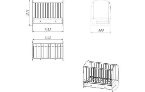 Кроватка детская Polini kids Simple 710, Слоник на шаре, с ящиком, белый