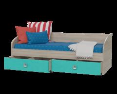 Кровать СИТИ односпальная с ящиками дуб сонома / аква
