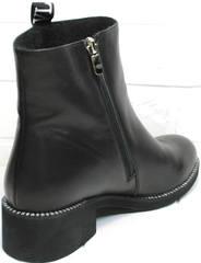 Короткие полусапожки женские Jina 6845 Leather Black.