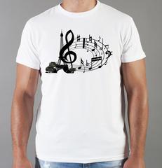 Футболка с принтом Ноты (с нотами, скрипичный ключ) белая 003