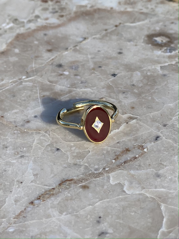 Aurora ring in gold plated silver with burgundy enamel