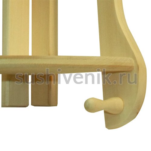 Полочка угловая с 2 крючками из липы