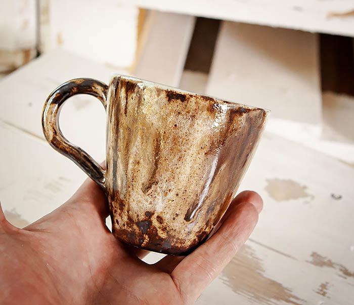 CUP106 Красивая кружка из глины для чая и кофе ручной работы (180 мл) фото 06