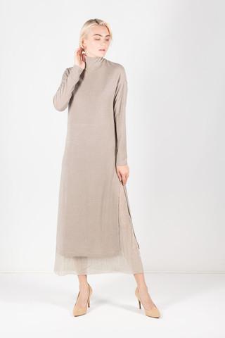 Фото бежевое трикотажное платье с воротником стойка - Платье З305а-655 (1)
