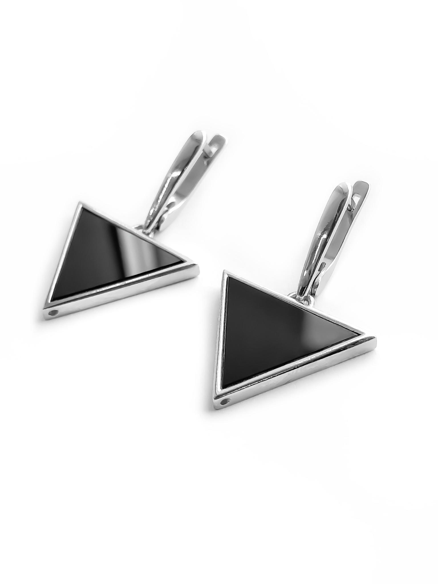 Серебряные серьги с обсидианом треугольной формы
