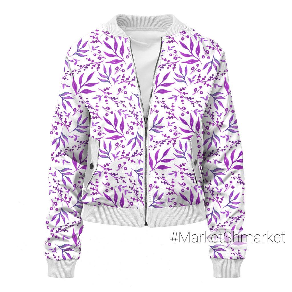 Акварельные фиолетовые растительные узоры. Листья и ягоды. Лето