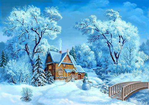 Картина раскраска по номерам 30x40 Зимний домик в лесу