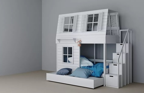Двухъярусная кровать-домик с комодом