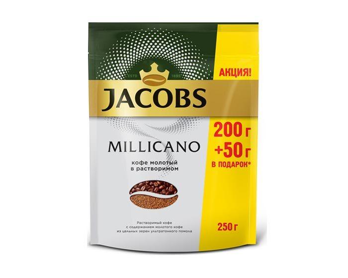 Кофе растворимый Jacobs Monarch Millicano с молотым кофе, 250 г пакет