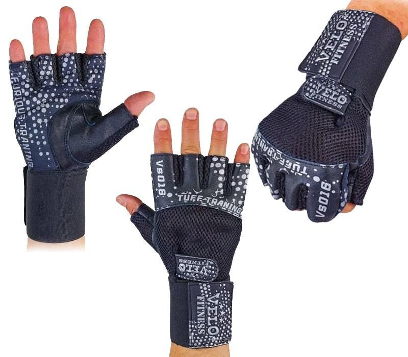 Шкіряні рукавички з відкритими пальцями Velo Fitness VL-3234 розміри S-XL